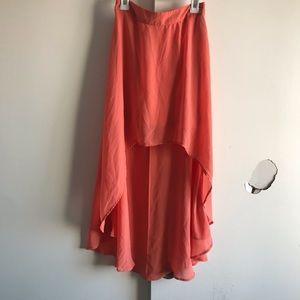 Coral/peach hi low skirt